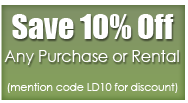 Save 10% Off Any Purchase or Rental